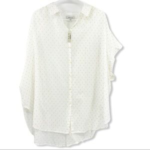 NWT Madewell Yellow White Button Cap Sleeve Blouse